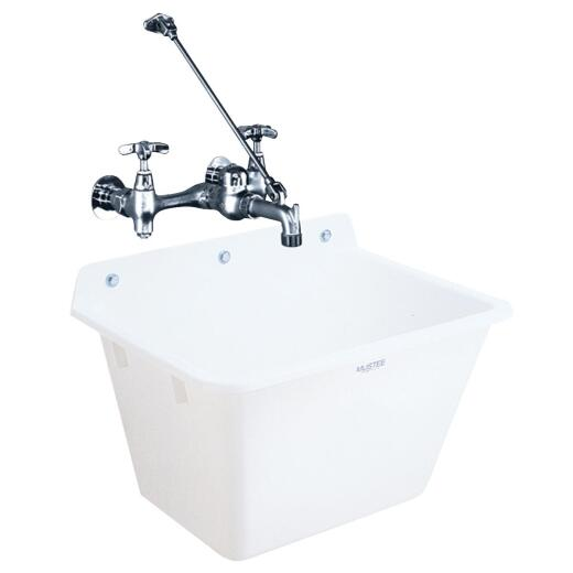 Mustee 12 Gallon 17 In. x 22 In. Wall Mount Utility Tub ( Faucet Not Included)